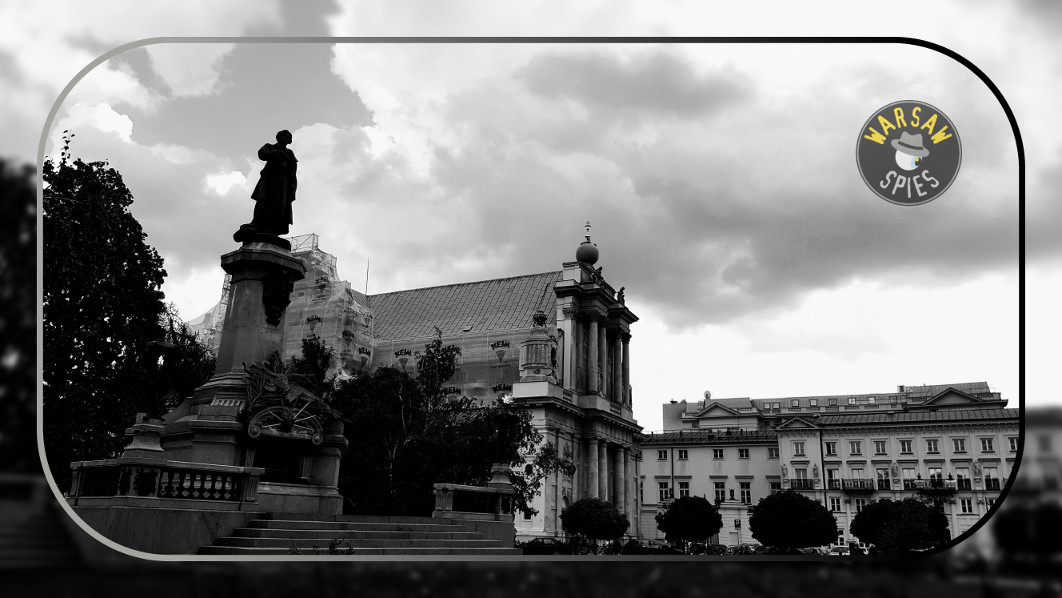 Warsaw, the Mickiewicz monument and the Carmelite Church
